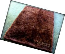 Fur Accents Sheepkin Accent Rug Collection / Dark Brown Faux
