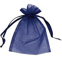 100 pcs Sheer Organza Drawstring Pouches Gift Bags Navy Blue