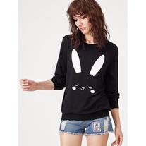 SheIn Black Rabbit Print Sweatshirt