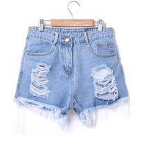 SheIn Blue Ripped Fringe Denim Shorts