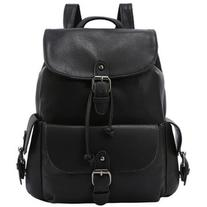 SheIn Buckled Flap Drawstring Backpack - Black