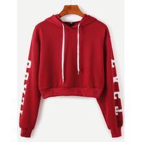 SheIn Burgundy Hooded Letters Print Crop Sweatshirt