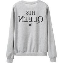 SheIn Grey Slogan Print Sweatshirt