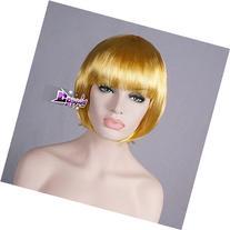 40cm Short Golden Wavy BOBO Girls Party Full Hair Anime