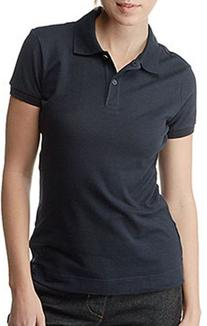 Dickies Girl Juniors Short Sleeve 2 Button Pique Polo,Black,