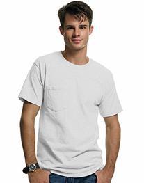 Hanes Short Sleeve Beefy Pocket T-Shirt - 5190, White, X-