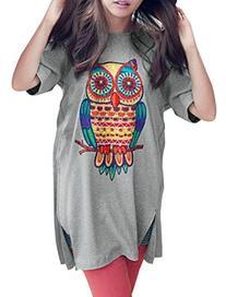 Allegra K Women Short Sleeve Owl T Shirt Side Split Loose