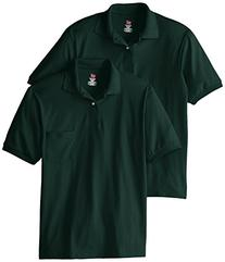 Hanes Men's Short Sleeve Jersey Pocket Polo, Deep Forest,