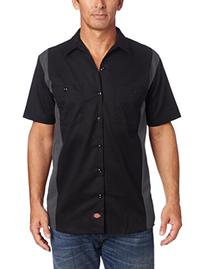 Dickies Men's Short Sleeve Two Tone Work Shirt, Black/Royal