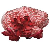 Kingsley Shower Cap - Red Design with Red Rose