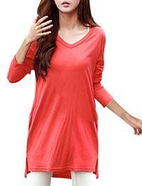 Allegra K Woman Side-Slit Long Sleeves V Neck Pullover