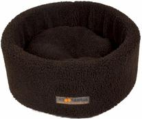 AlphaPooch Siesta Round Fleece Cat Bed, Coco, Small