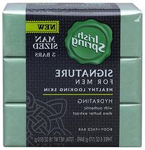 Irish Spring Signature Body + Face Bar Soap - Hydrating For Healthy Looking Skin - Large, Man-Sized Bars - Net Wt. 6 OZ Per Bar; 18 OZ Per Package -