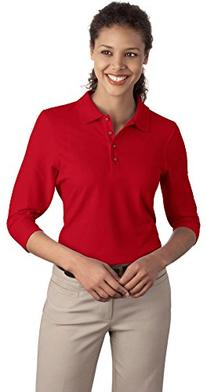 Port Authority Ladies Silk Touch 3/4-Sleeve Polo, Red, X-