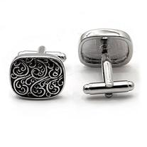 Silver Black Scroll Design Cufflinks with Gift Boxed