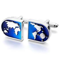 MOWOM Silver Blue 2 PCS Rhodium Plated Cufflinks World Map