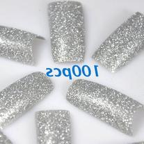 350buy 100pcs Silver Glitter False French Acrylic Nail Art