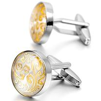 MOWOM Silver Gold 2 PCS Rhodium Plated Cufflinks Clouds