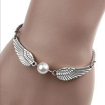Sannysis Silver Infinity Retro Pearl Angel Wings Jewelry