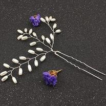 Silver Metal Faux Pearl Embellished Hair Stick