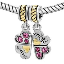 925 Sterling Silver Mom Mother Daughter Love Heart Pink CZ