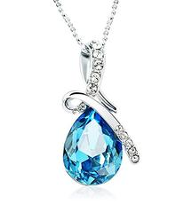 Hot Women Silver Plated Crystal Drop Pendant Necklace