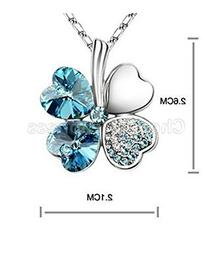 Hot NEW Silver Plated Crystal Lucky Clover Pendant Necklace