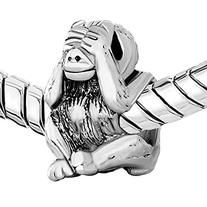 Pugster Silver Plated Hear No Evil Monkey Animal Bead Fits