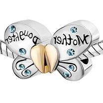 Silver Plated Mother Daughter Charms Separable Butterfly