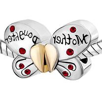 Pugster Silver Plated Mother Daughter Charms Separable