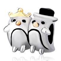 Silver Plated Pugster Penguin Couple Heart Love Charm Fits