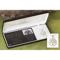 """Silver Plated Round Pendant """"The Tree of Life"""" with Cross on"""