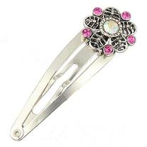 Silver Tone Barrette with a Flower Design with Crystals