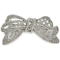 Silver-tone Downton Abbey by 1928 Jewelry Textured Bow Pin