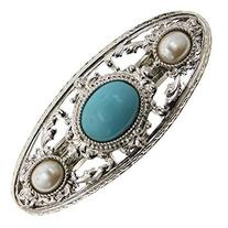 1928 Jewelry Silver-Tone Imitation Turquoise and Simulated