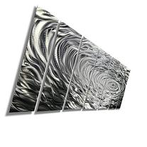 Large Silver Modern Metallic Wall Sculpture With Rain-Drop