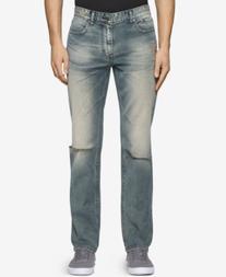 Calvin Klein Jeans Men's Sim-Fit Straight Fatigued Jeans
