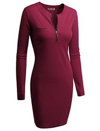 Doublju Fitted Ribbed Knit Zipper Front Mini Dress  BURGUNDY