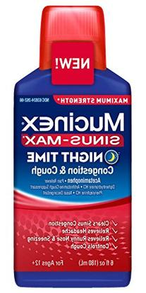Mucinex Sinus-Max Strength Liquid, Night Time Relief, 6 OZ