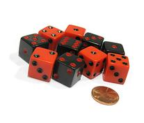 Set of 10 Six Sided Square Opaque 16mm D6 Dice - Inverse