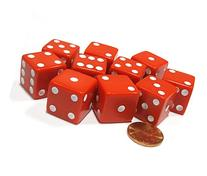Set of 10 Large Six Sided Square Opaque 19mm D6 Dice - Red