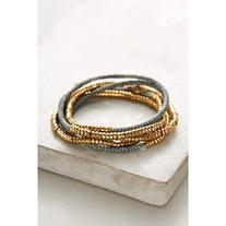 Anthropologie Slate Twisted Wrap Bracelet