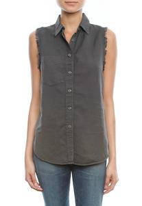 The Sleeveless Foxy Shirt in Charcoal - designed by MOTHER