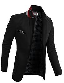 H2H Mens Fashion Slim Fit Blazer Jacket With Snap Collar
