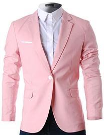 FLATSEVEN Mens Slim Fit Cotton Stylish Casual Blazer Jacket
