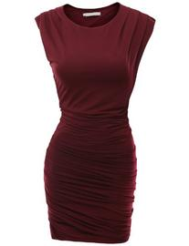 Doublju Slim Seamless Neckline Bodycon Dress WINE
