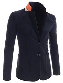 TheLees Slim Stretchy Notched Lapel Unbalanced Pocket