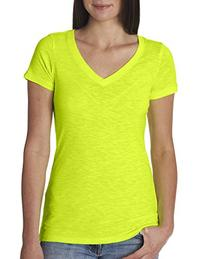 Next Level Womens Slub Crossover V-Neck Tee 6840 -NEON