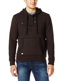 True Religion Men's Slub Fleece Long Sleeve Hoodie, Raven, X