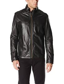 Cole Haan Men's Smooth Lamb Leather Moto Jacket, Black, XX-